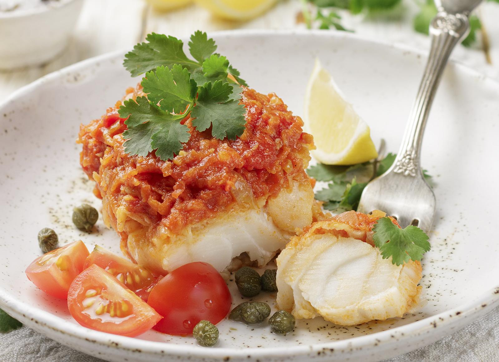 Receta: Tacos de merluza con tomate